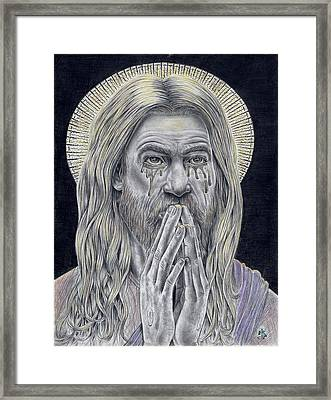 Jesus Crying For Us Framed Print by Vincnt Clark