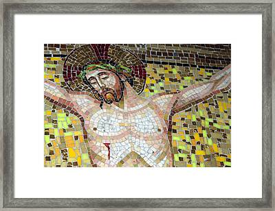 Jesus On The Cross Mosaic Framed Print by Munir Alawi