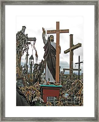 Jesus On The Hill Of Crosses. Lithuania Framed Print by Ausra Huntington nee Paulauskaite