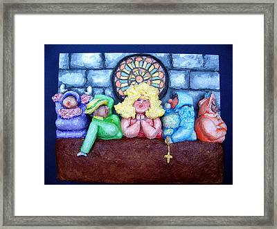 Jesus Save Us. The Devil Has Come To Church Framed Print by Alison  Galvan