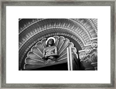 Jesus  Sculpture Above Cathedral Door Lintel Framed Print by Daniel Hagerman