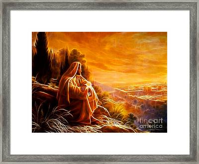 Jesus Thinking About People Framed Print by Pamela Johnson