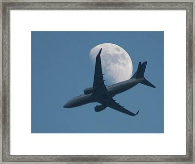 Jet In Front Of Moon Framed Print by KM&G-Morris