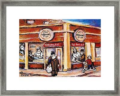 Jewish Montreal Vintage City Scenes Fish Market On Roy Street Framed Print by Carole Spandau