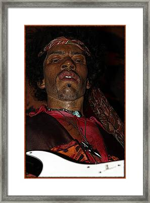Jimi Hendrix Cartoon Framed Print by Sophie Vigneault