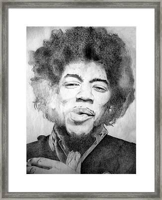 Jimi Hendrix - Medium Framed Print by Robert Lance