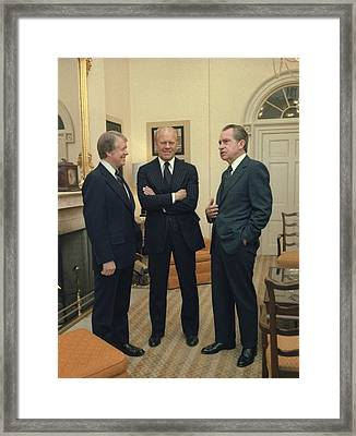 Jimmy Carter Gerald Ford And Richard Framed Print by Everett