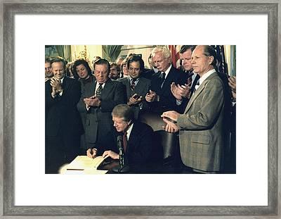 Jimmy Carter Signs Airline Deregulation Framed Print by Everett