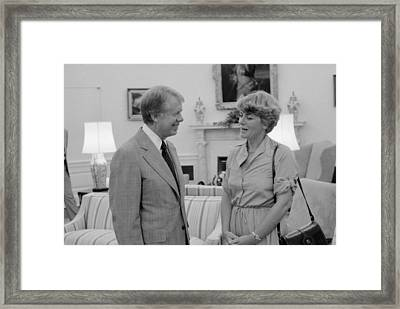 Jimmy Carter With Congresswoman Framed Print by Everett
