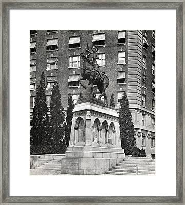 Joan Of Arc Statue, In Armor With Sword Framed Print by Everett