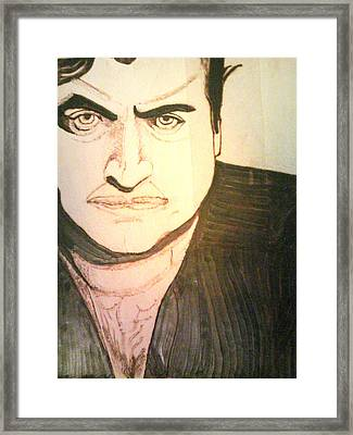 John Belushi Pyrography Framed Print by Timothy Wilkerson