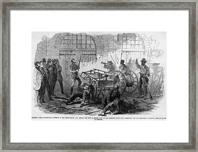 John Brown And Others Inside The Engine Framed Print by Everett