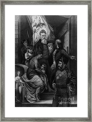 John Brown Meeting Slave Mother Framed Print by Photo Researchers