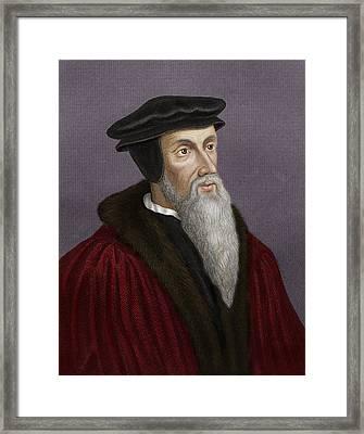 John Calvin, French Theologian Framed Print by Maria Platt-evans