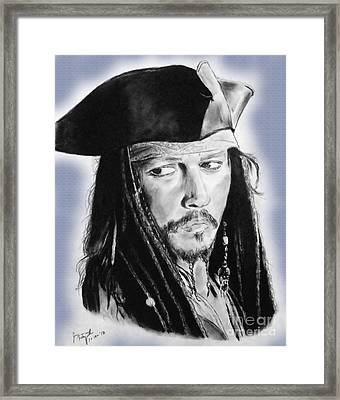 Johnny Depp As Captain Jack Sparrow In Pirates Of The Caribbean II Framed Print by Jim Fitzpatrick