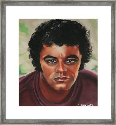 Johnny Mathis Framed Print by Cyndi Brewer