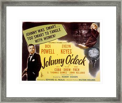 Johnny Oclock, Dick Powell, Evelyn Framed Print by Everett