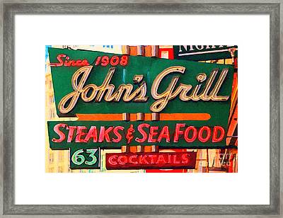 Johns Grill In San Francisco . Home Of The Maltese Falcon Framed Print by Wingsdomain Art and Photography
