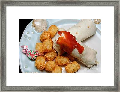 Jr Breakfast Burritos And Tots Framed Print by Andee Design