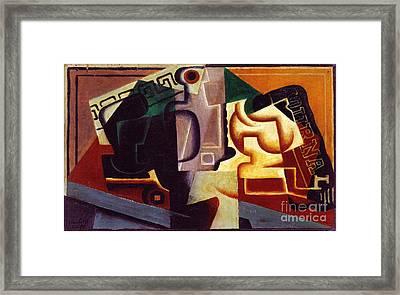 Juan Gris Glas Und Karaffe Framed Print by Pg Reproductions