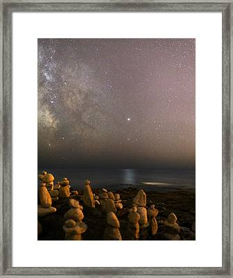 Jupiter In Scorpius Over A Beach Framed Print by Laurent Laveder