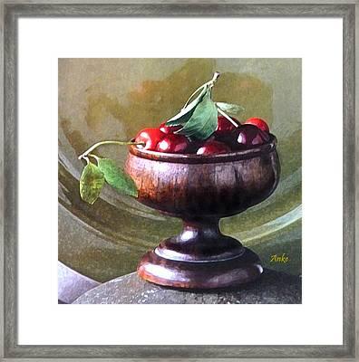 Just A Bowl Of Cherries Framed Print by Anke Wheeler
