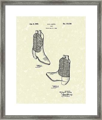Justin Boot 1940 Patent Art Framed Print by Prior Art Design