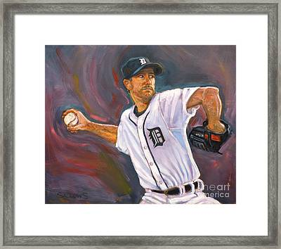 Justin Verlander Throws A Curve Framed Print by Nora Sallows