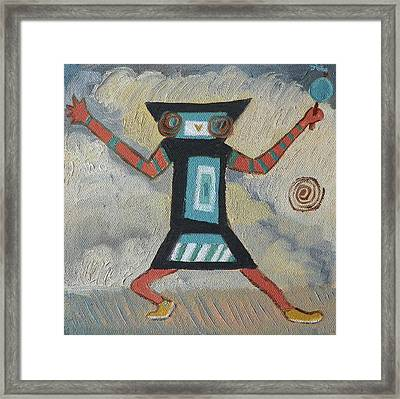 K Is For Kachina Detail From Childhood Quilt Painting Framed Print by Dawn Senior-Trask