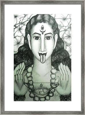 Kali God Framed Print by Sri Mala