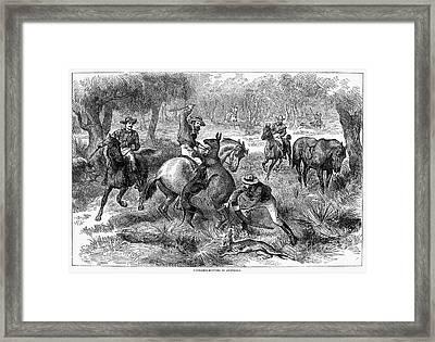 Kangaroo Hunting, 1876 Framed Print by Granger