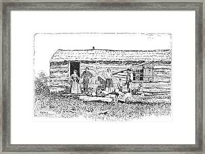 Kansas: Early House, 1854 Framed Print by Granger