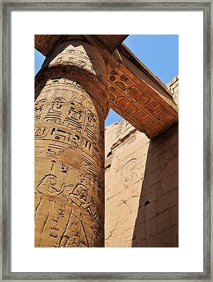 Karnak Temple Columns Framed Print by Michelle McMahon