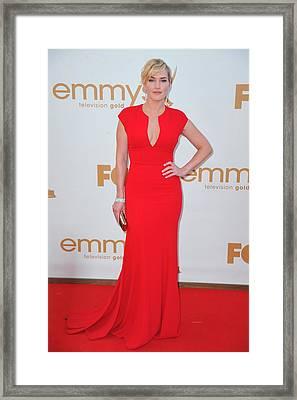 Kate Winslet Wearing An Elie Saab Dress Framed Print by Everett
