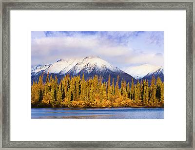 Kathleen Lake And Mountains At Sunrise Framed Print by Yves Marcoux
