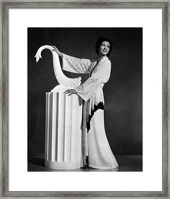 Kay Francis Modeling White-crepe Framed Print by Everett