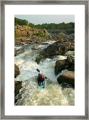 Kayaker Running Waterfalls At Great Framed Print by Skip Brown