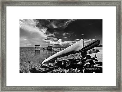 Kayaks Bw Framed Print by Bruce Bain