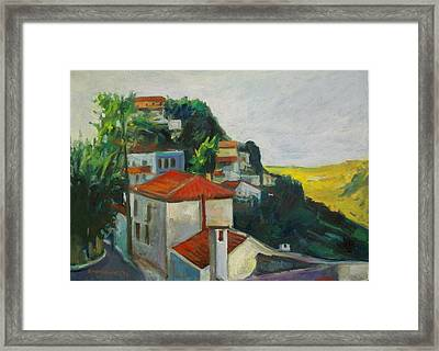 Kea-tzia.afternoon In Chora Framed Print by George Siaba