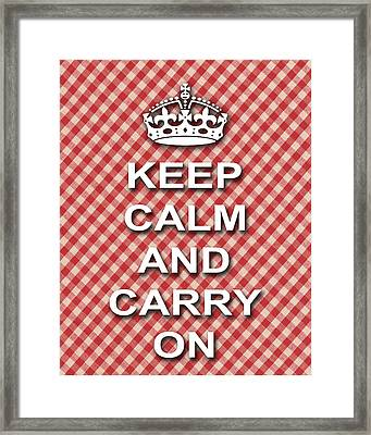 Keep Calm And Carry On Poster Print Red White Background Framed Print by Keith Webber Jr