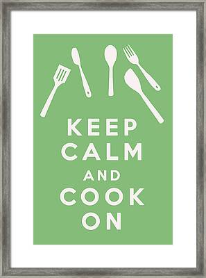 Keep Calm And Cook On Framed Print by Georgia Fowler