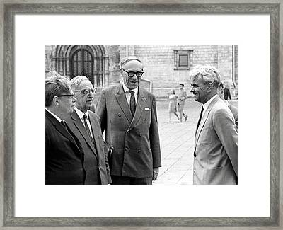 Keldysh (right) With Soviet Scientists Framed Print by Ria Novosti