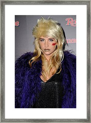 Kesha At The After-party For Rolling Framed Print by Everett