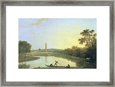 Kew Gardens - The Pagoda And Bridge Framed Print by Richard Wilson