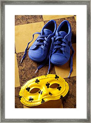 Kids Blue Shoes And Mask Framed Print by Garry Gay