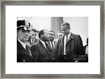 King And Malcolm X, 1964 Framed Print by Granger