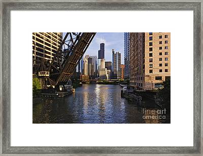 Kinzie St Bridge In Chicago Framed Print by Jeremy Woodhouse
