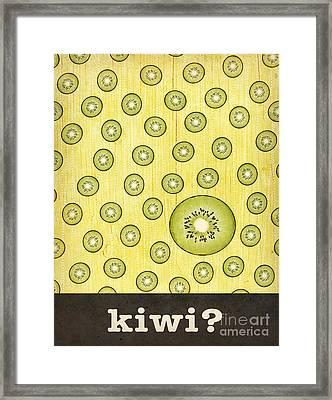 Kitchen Art - Kiwi Framed Print by Linda Tieu