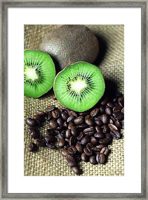 Kitchen Pictures Coffee Beans Kivi Framed Print by Falko Follert