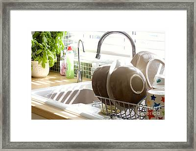 Kitchen Sink And Washing Up In Summer Sunlight Framed Print by Simon Bratt Photography LRPS